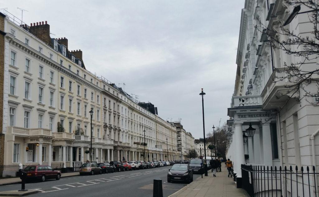 La rue de notre hôtel à Londres